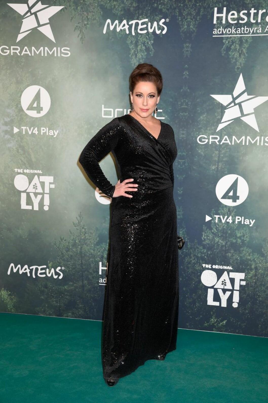 Lisa Nilsson på röda mattan på Grammisgalan 2020