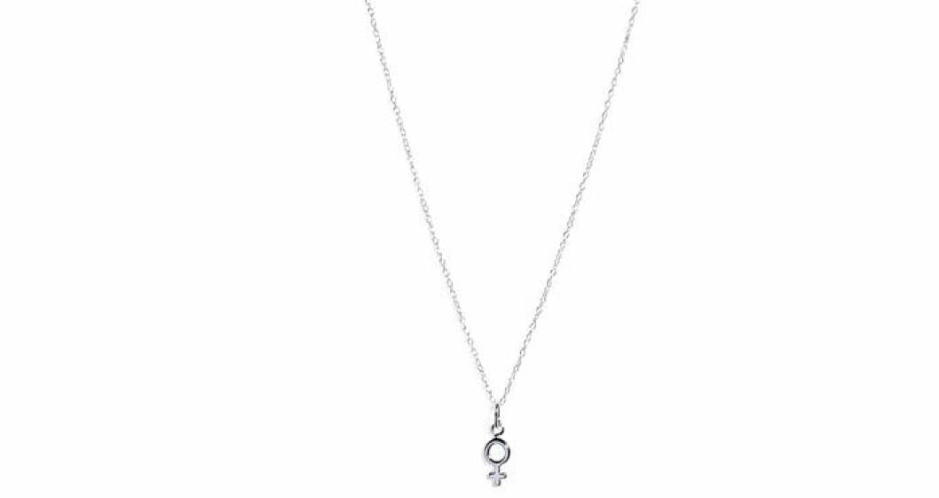 Silvrigt litet halsband med kvinnosymbol