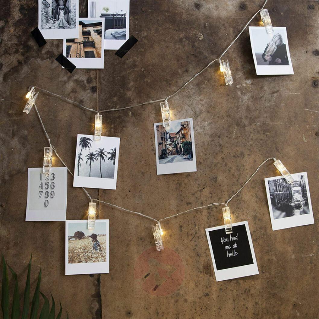 Ljusslinga med clips för bilder