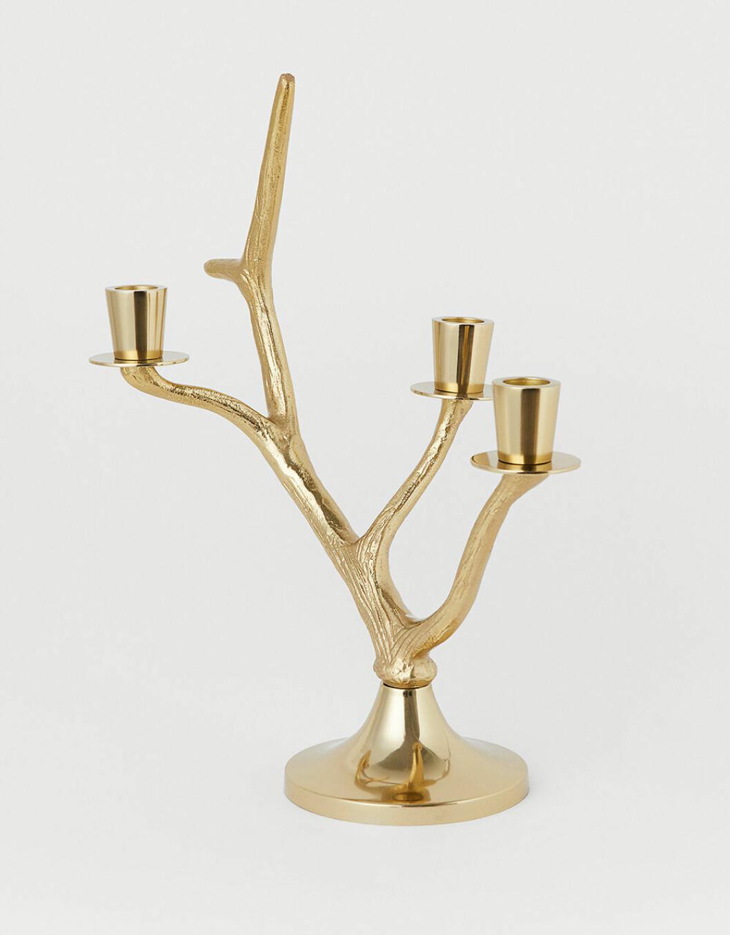 Ljusstake i guldfärgad metall från H&M Home