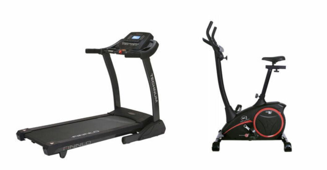 löpband och motionscykel för hemmabruk