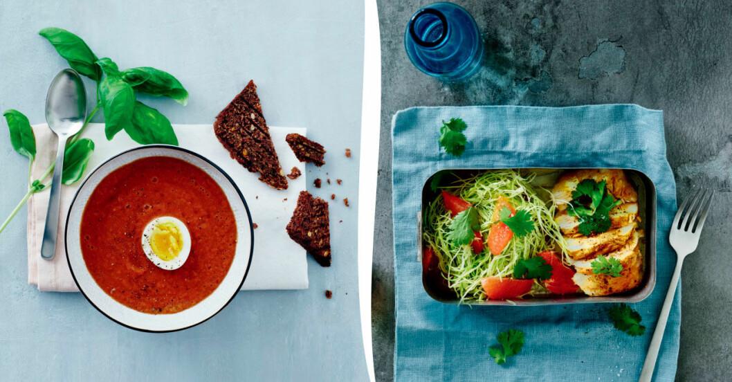 Kall tomatsoppa och kycklingsallad