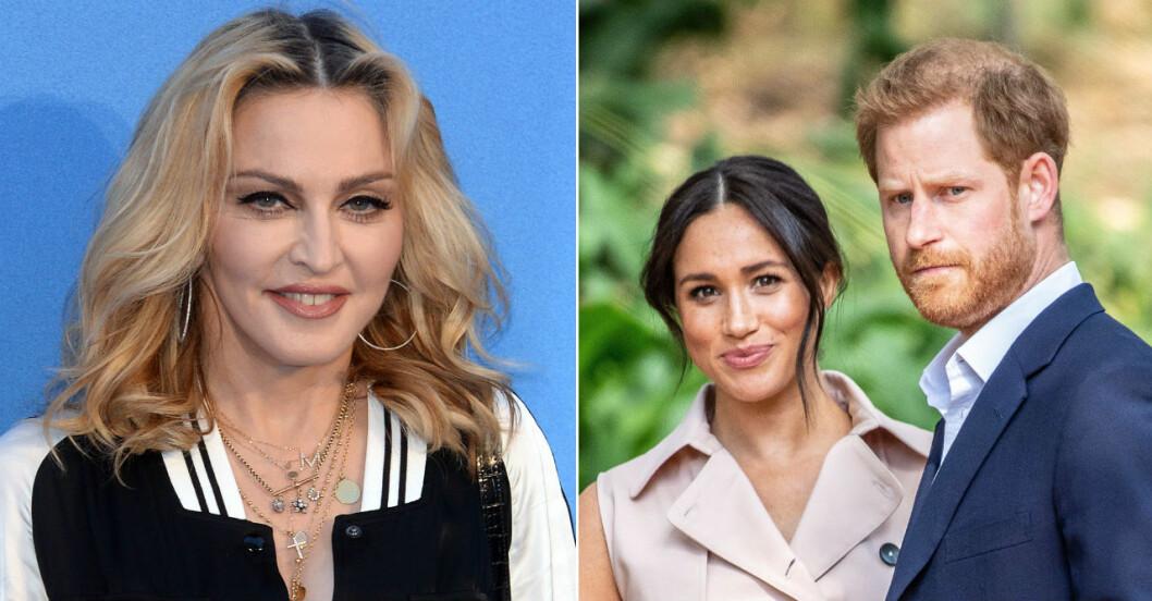 Madonna erbjuder sin lägenhet till Harry och Meghan Markle.