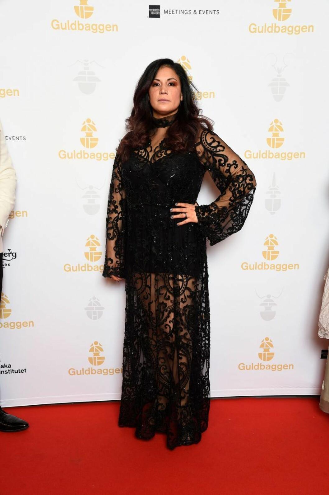Malin Arvidsson på röda mattan på Guldbaggegalan 2020