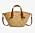 Stråväska med bruna skinndetaljer. Väskan från Mango.