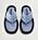 Platta tofflor med ljusblå sula och breda, fyllda band över foten. Tofflorna är i flip-flop-modell. Tofflor från Mango.