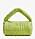 Ljusgrön axelremsväska med draperat tyg över både väskan och axelrem. Väska från Mango.