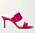 Cerise sandalett med hög, smal klack och brett band med spänne på. Allt i cerise. Sandalett från Manolo Blahnik.