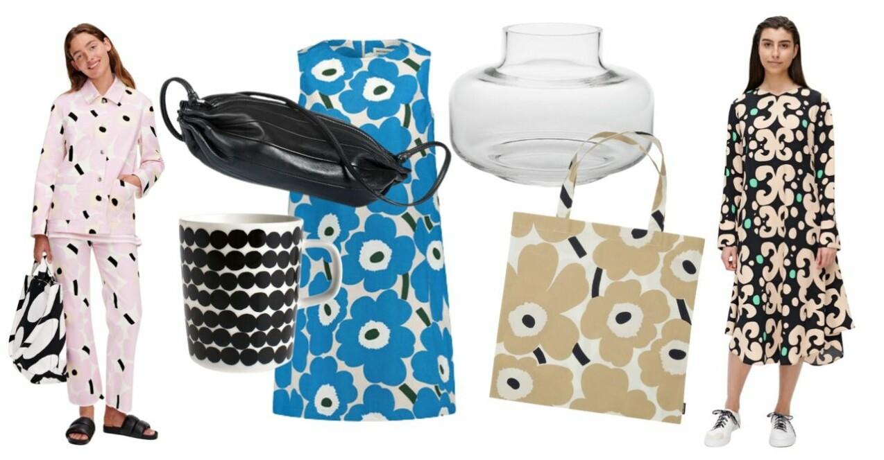 Inspirationskollage med produkter från Marimekko. Produkterna beskrivs mer utförligt i artikeln.