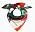 Scarf med mönster i grönt, rött, rosa och vitt. Scarf från Marimekko.