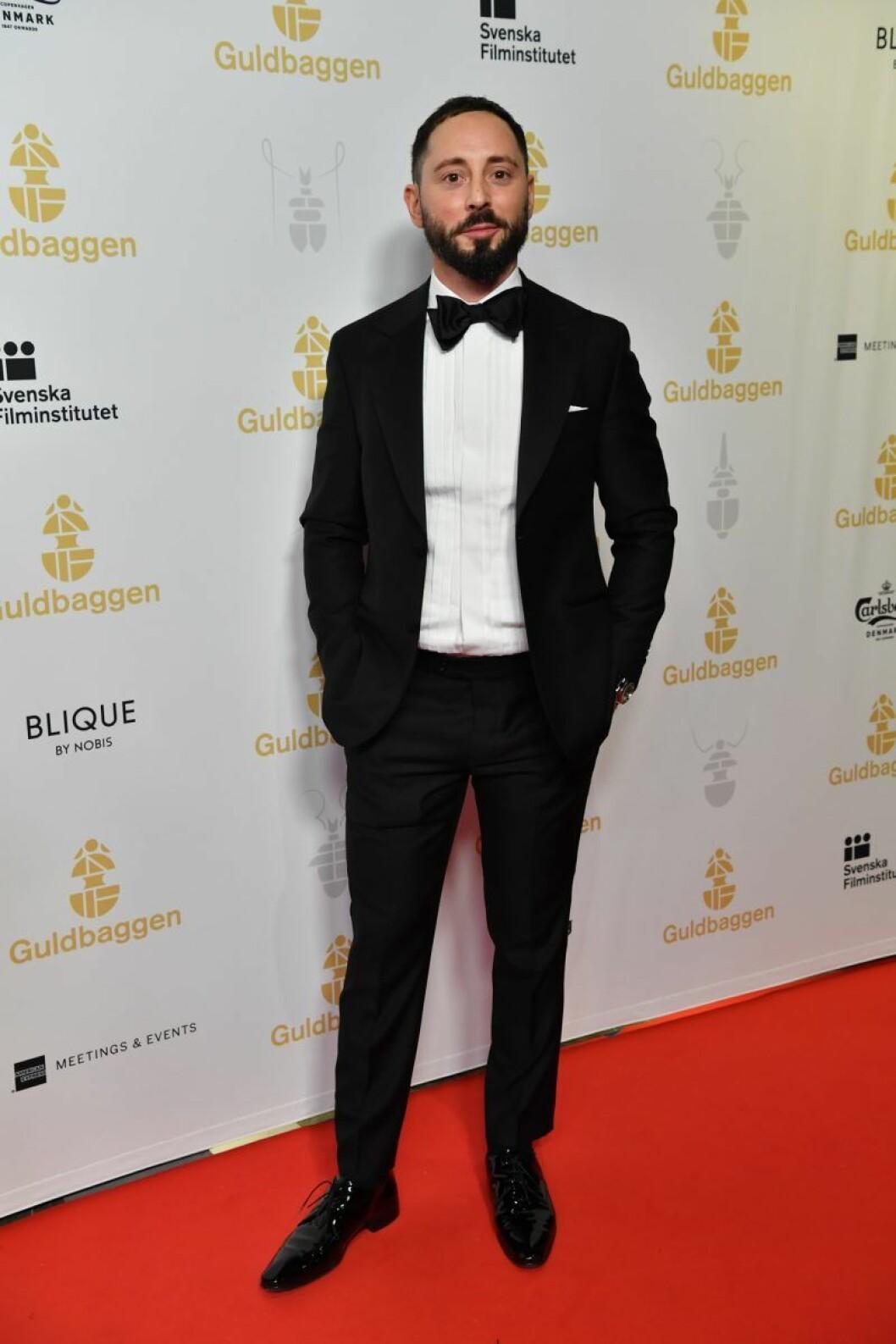 Matias Varela på röda mattan på Guldbaggegalan 2020