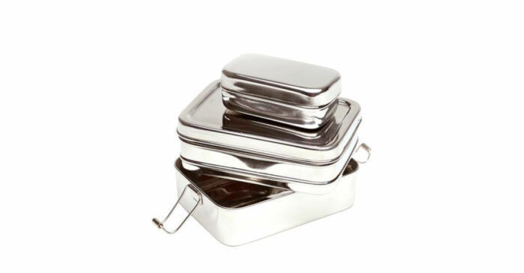 rostfri matlåda trepack