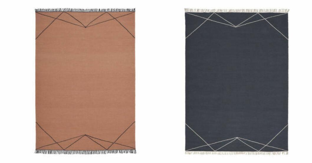 Matta Linie design rostfärgad och marinblå
