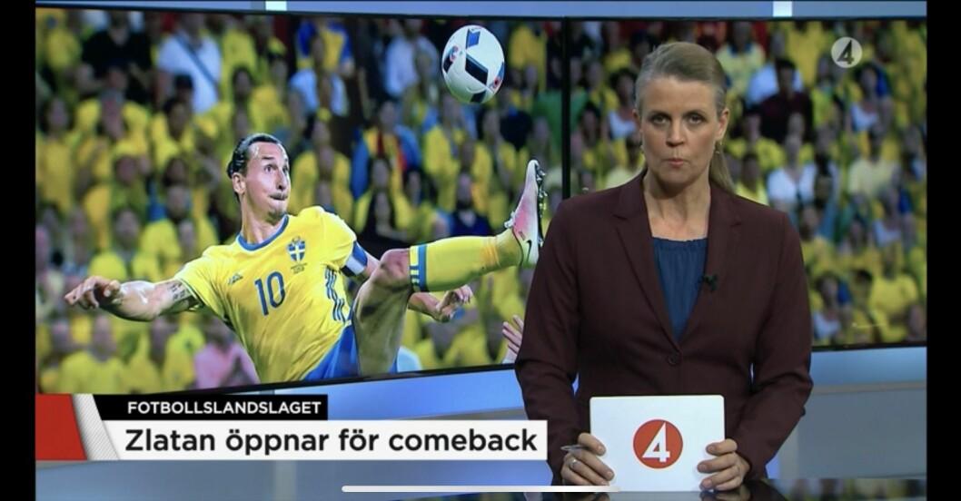 Maud Bernhagen i TV4-sportens sändning.