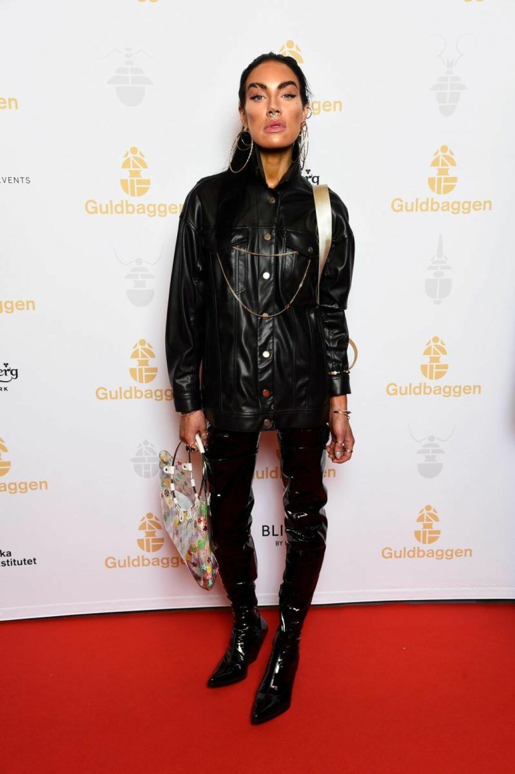 Maxida Märak på röda mattan på Guldbaggegalan 2020