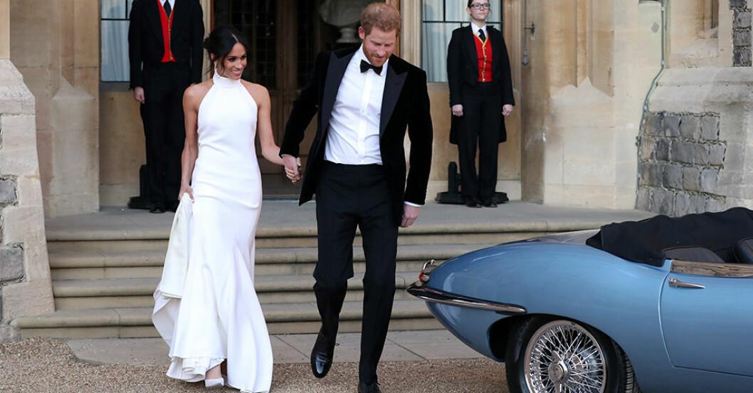 Meghan och Harry på väg till sin andra bröllopsfest, meghan bär Stella McCartney