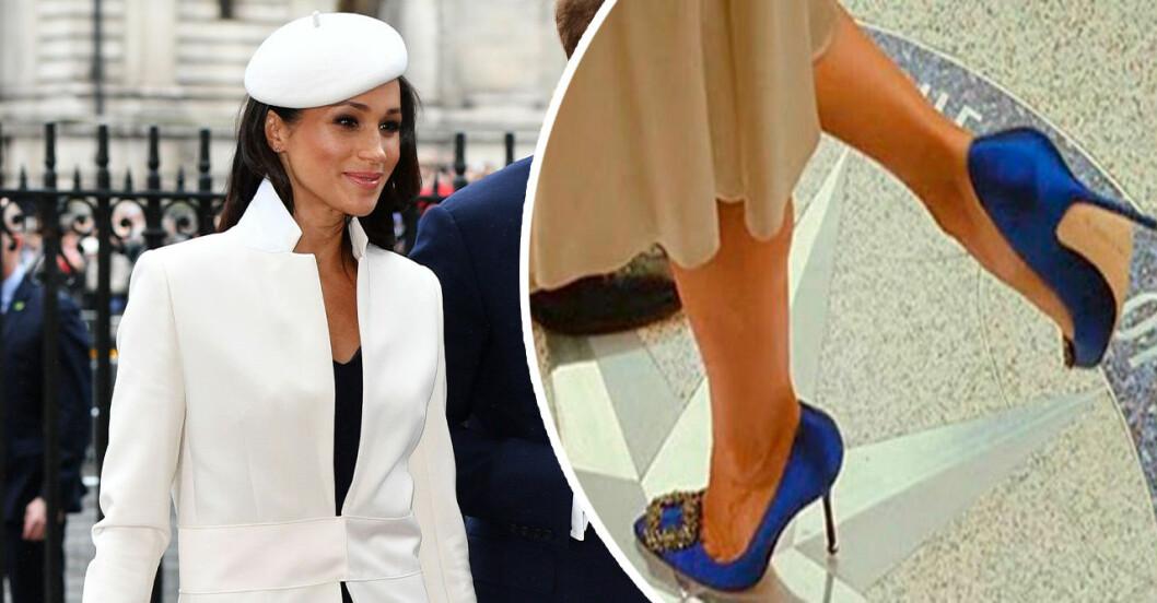 Meghan Markle och ett par blå skor från manolo Blahnik