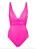 Knallrosa baddräkt med drapering under och över bröstet. Baddräkt från Melissa Odabash.