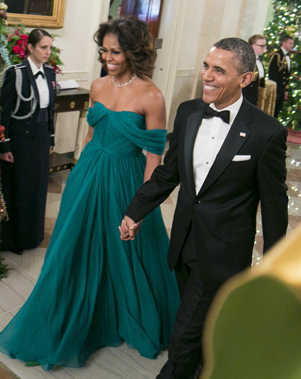 07 December 2013 - Washington D.C. - Michelle Obama, Barack Obama. The 2013 Kennedy Center Honors hosted by United States Secretary of State John F. Kerry at the U.S. Department of State. The 2013 honorees are: opera singer MartinaArroyo; pianist, keyboardist, bandleader and composer HerbieHancock; pianist, singer and songwriter BillyJoel; actress ShirleyMacLaine; and musician and songwriter CarlosSantana. Photo Credit: Ron Sachs/CNP/AdMedia/insight media