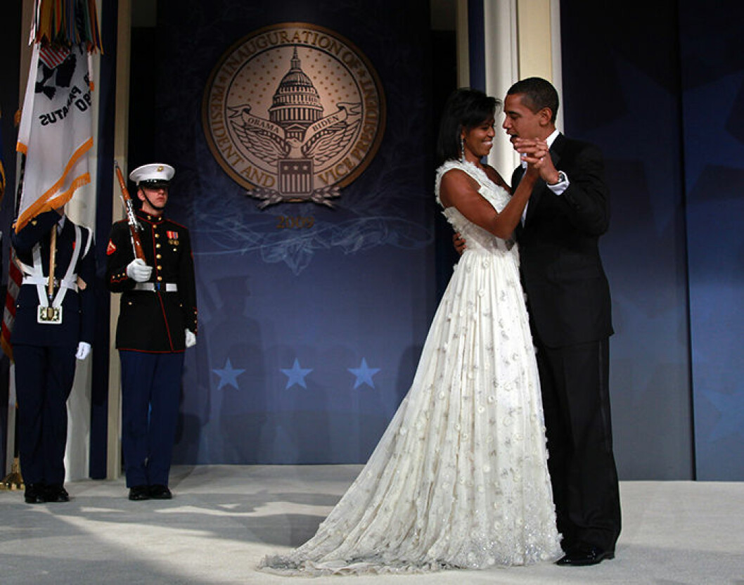 US President Barack Obama and First Lady Michelle Obama attend the MTV & ServiceNation: Live From The Youth Inaugural Ball at the Hilton Washington. President Barack Obama was sworn in as the 44th President of the United States today, becoming the first African-American to be elected President of the US. /// Barack Obama and Michelle Obama dance on stage during MTV & ServiceNation: Live From The Youth Inaugural Ball