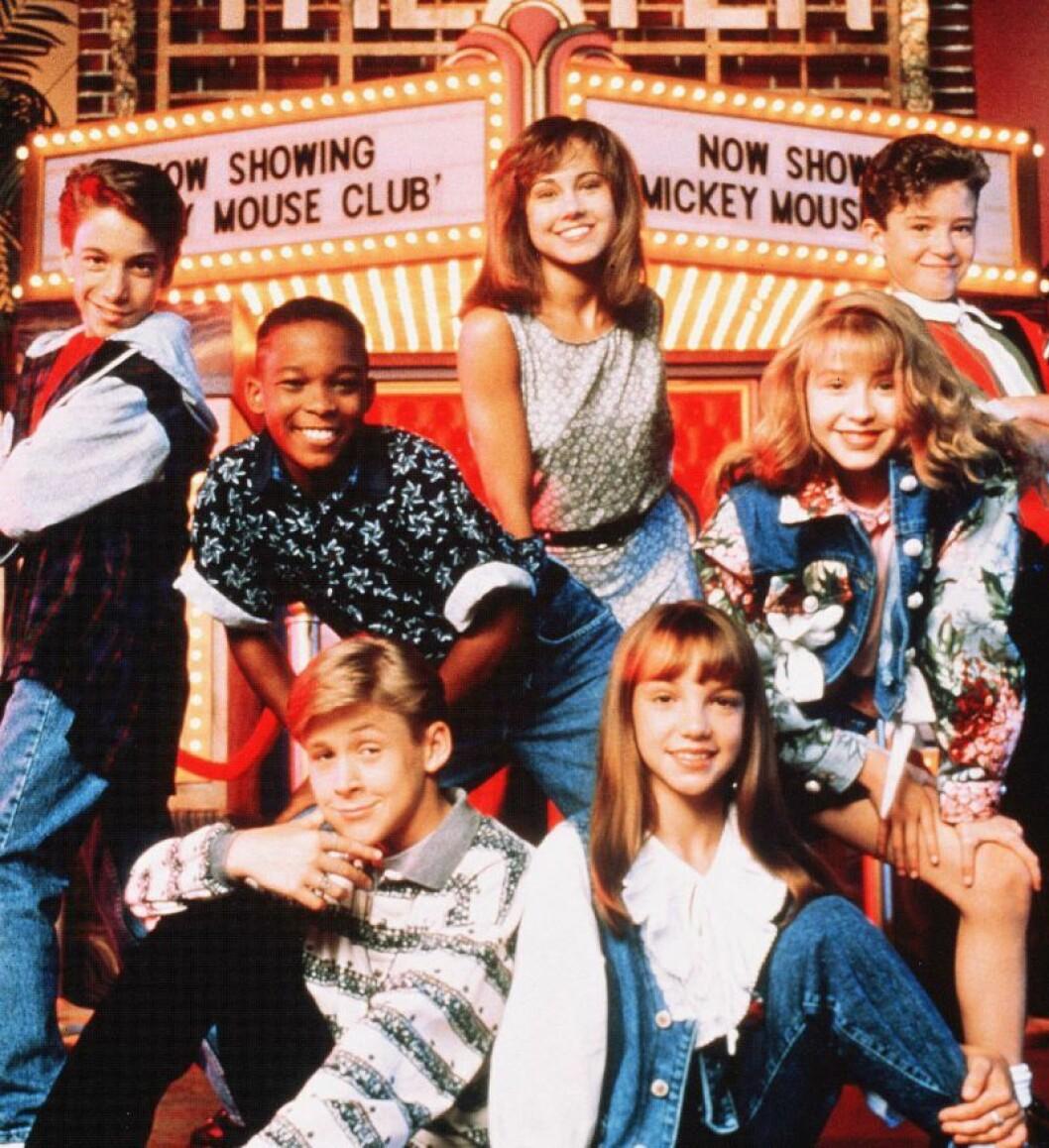 Britney och Justin Timberlake träffades i Mickey Mouse Club 1992. Justin är längst upp till höger, Britney längst ned till höger.