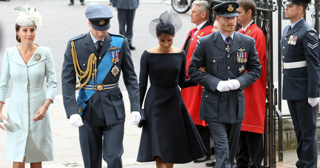 De brittiska prinsarna tillsammans med sina gemål Kate Middleton och Meghan Markle.