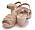 Sandaler i beige med öppen tå och flera remmar över foten. Ljus träklack. Träsandaler från Moheda.