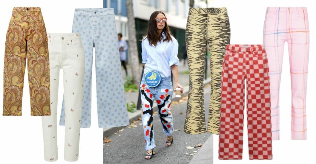 Inspirationskollage med mönstrade jeans och i mitten är det en tjej med jeans med mönster på. Alla jeans beskrivs närmare i artikeln.