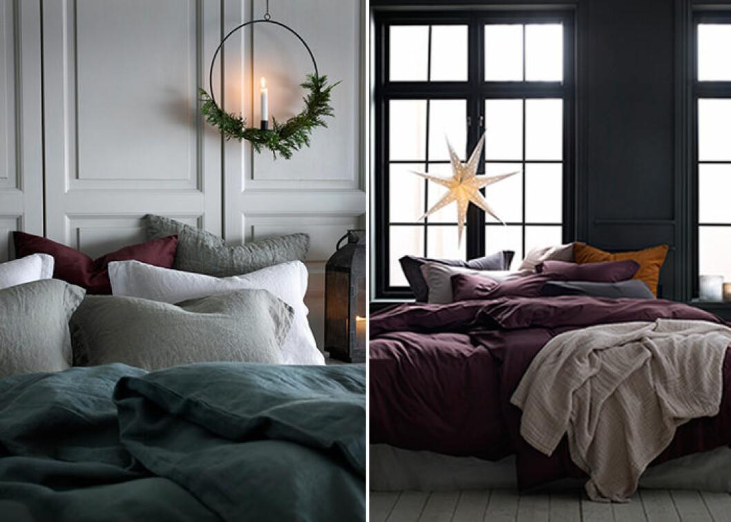 mörka textilier bidrar till julkänslan i hemmet, här hos Ellos Home