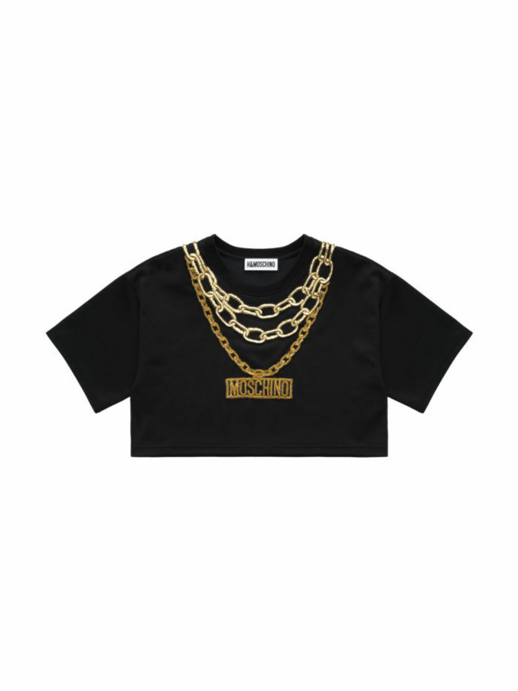 Croppad t-shirt med printade guldkedjor och Moschino-logo. Moschino H&M