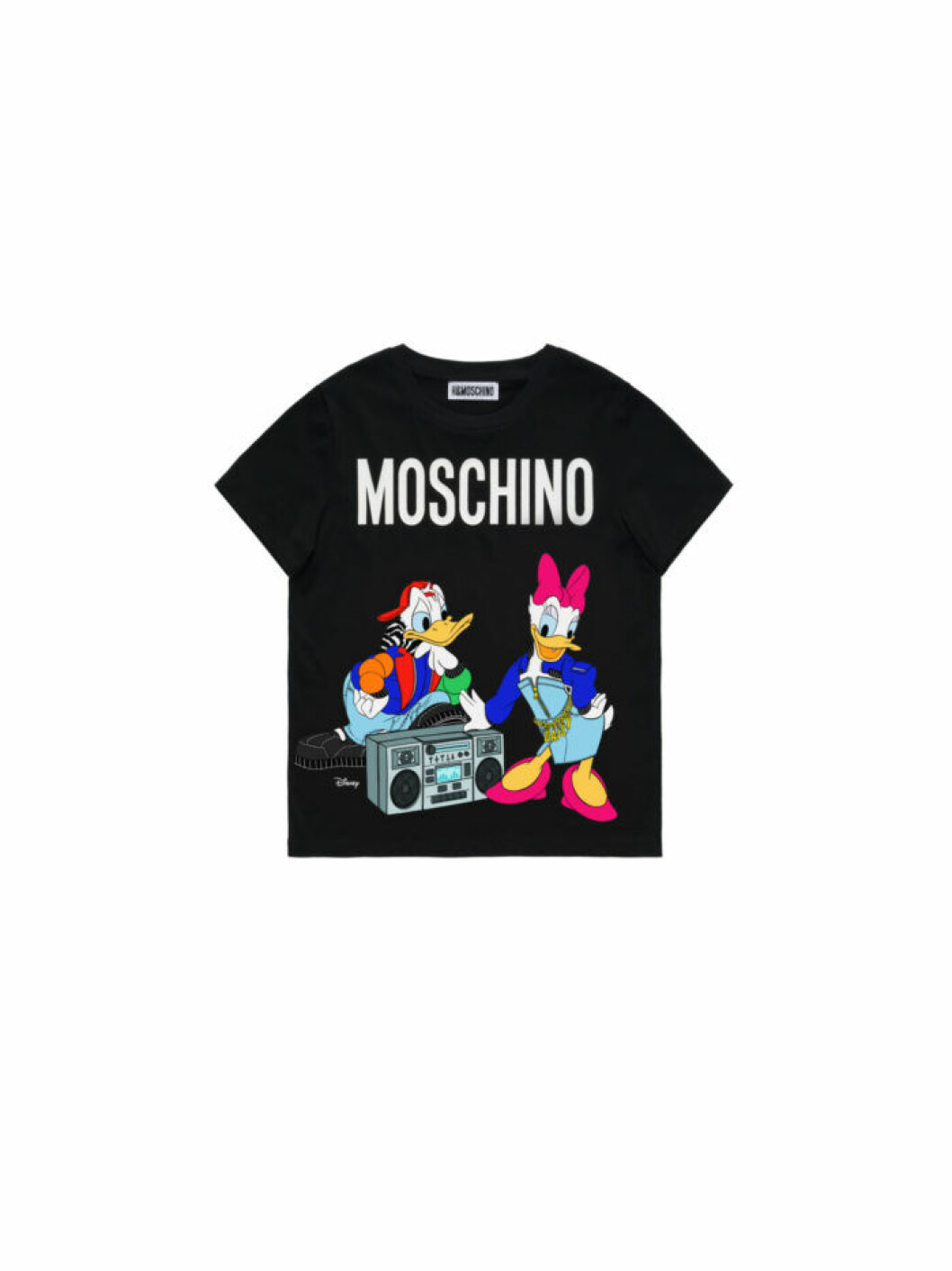 Kalle och Kajsa Anka på en svart t-shirt Moschino [tv] H&M