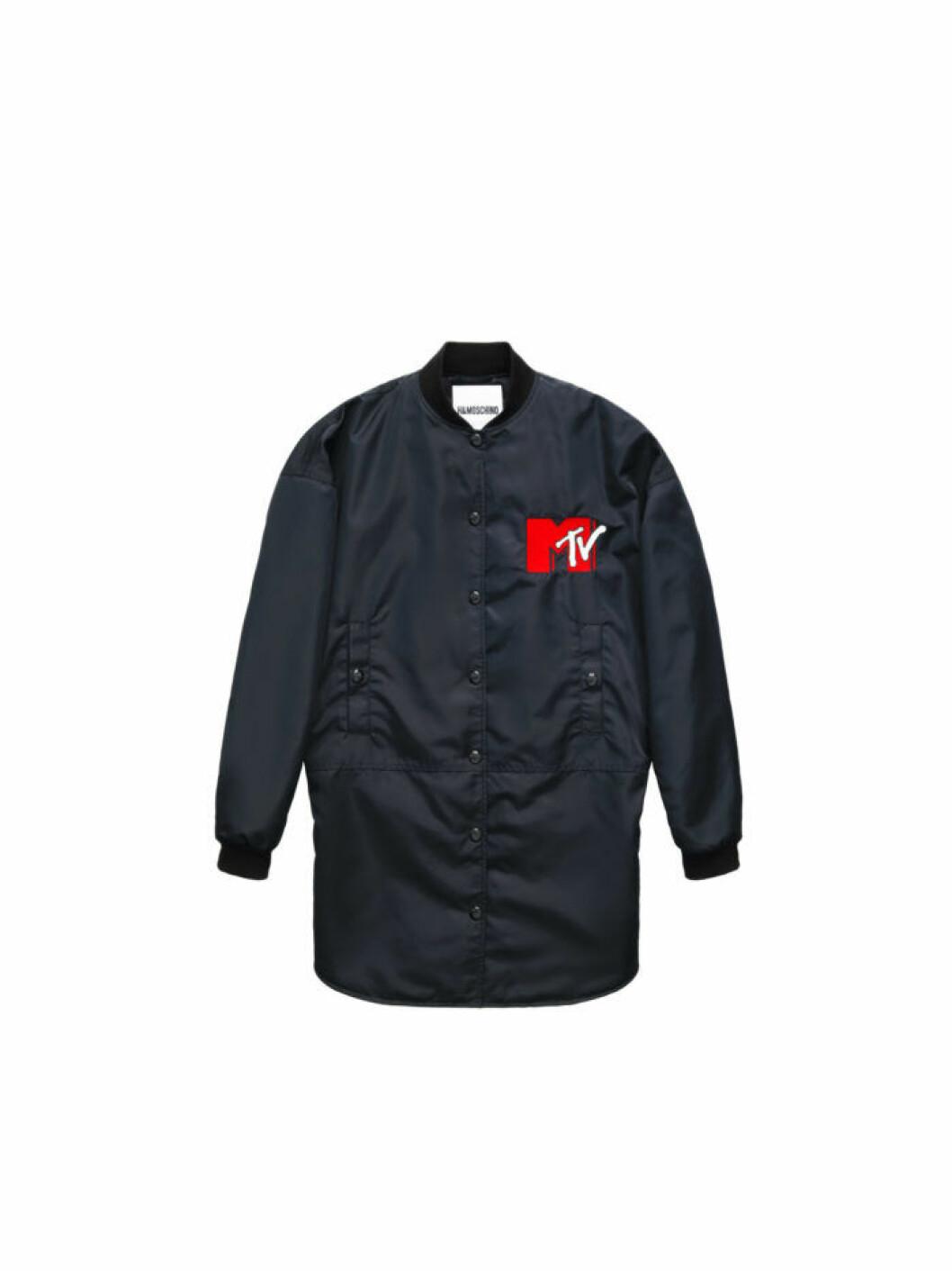 Svart lång jacka i nylon med MTV-logga Moschino [tv] H&M