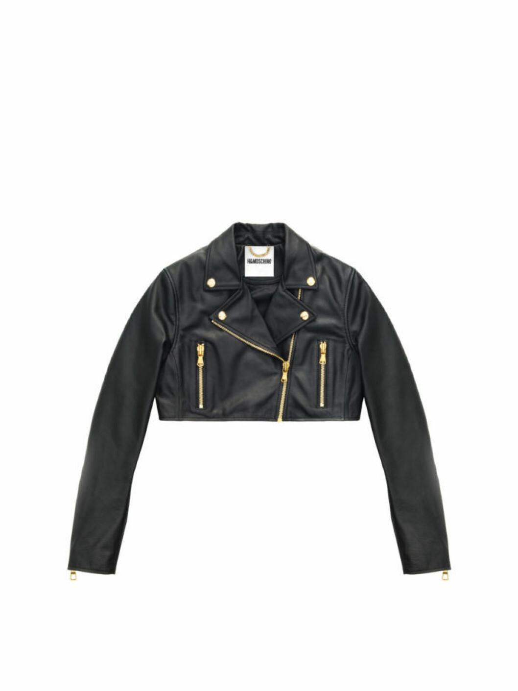 Croppad svart skinnjacka med guldiga detaljer Moschino [tv] H&M