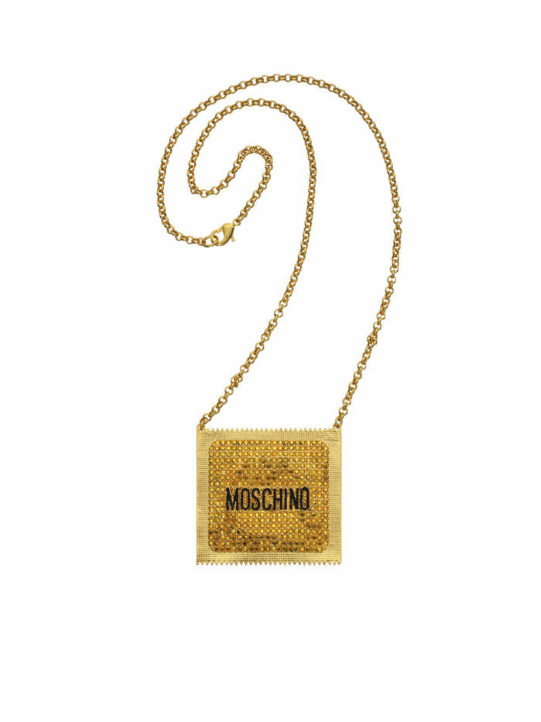 Guldigt halsband med hänge i form av kondompaket Moschino [tv] H&M