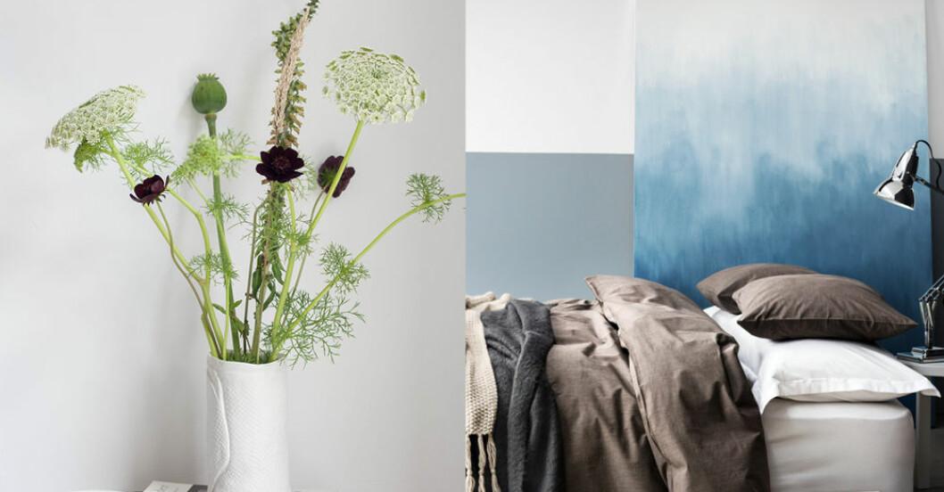 Vas med blommor och ett härligt sovrum.