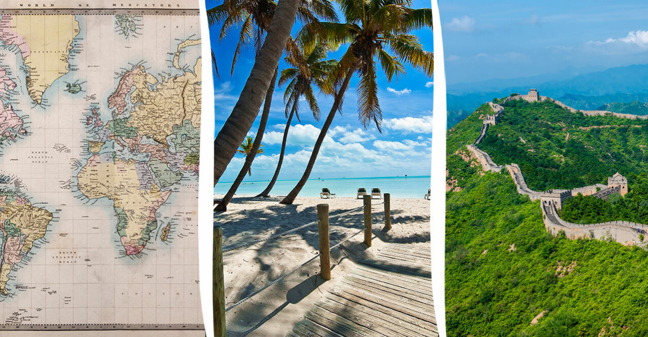 världskarta, Key West och kinesiska muren