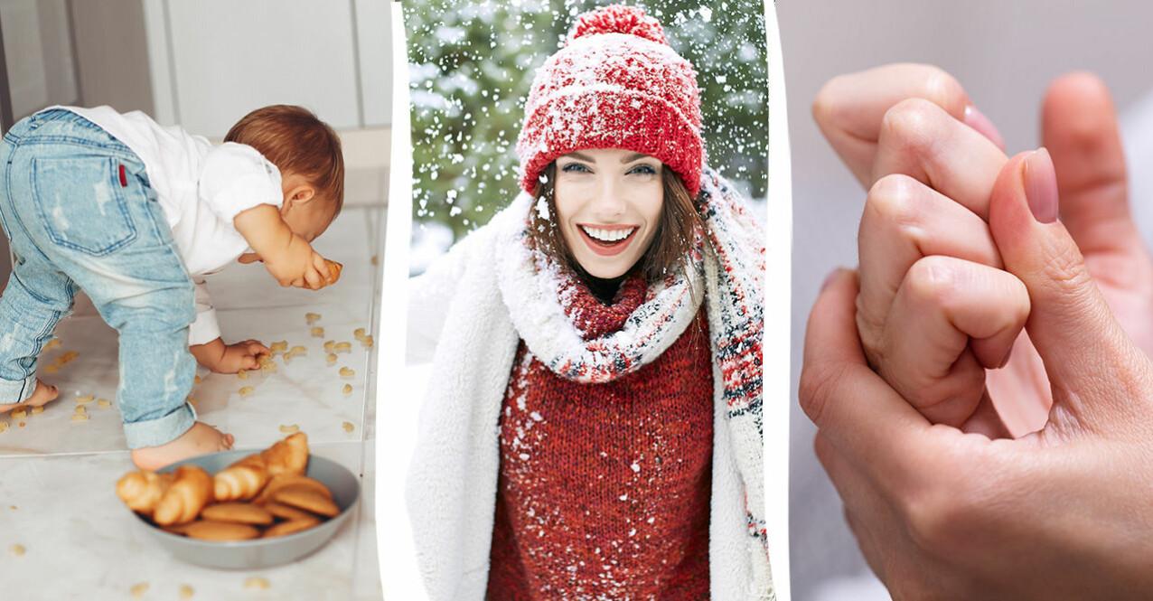 kvinna på vintern, barn som äter från golvet och fingrar