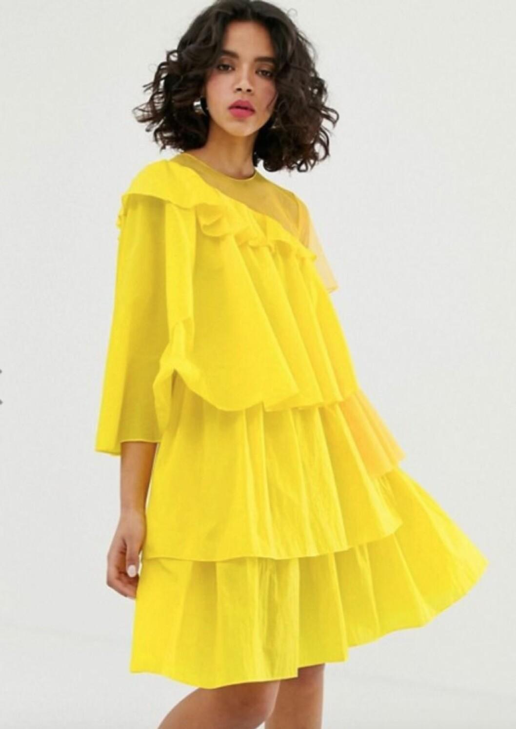 Neongul klänning från asos