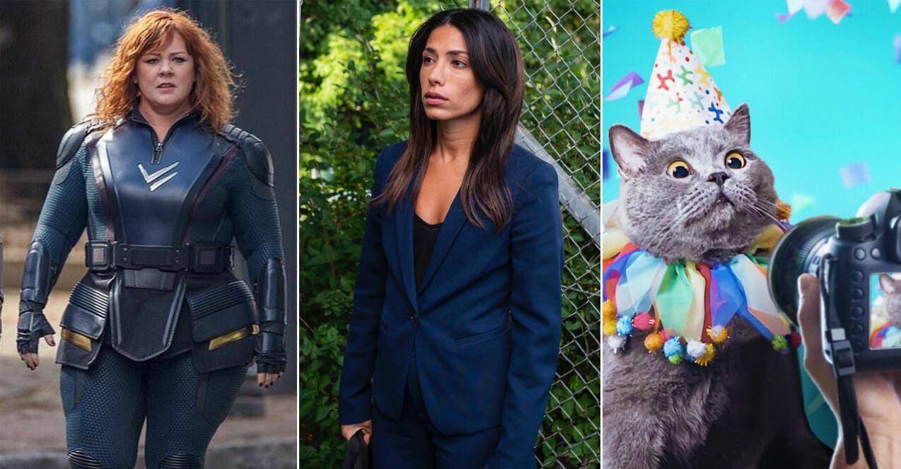 Melissa McCarthy i Thunder Force, Evin Ahmad i snabba cash, och en katt i Pet Stars på Netflix i april