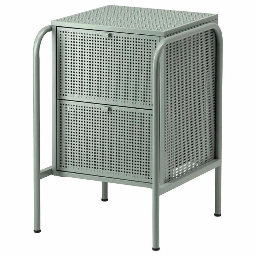 Grågrönt sängbord från Ikea