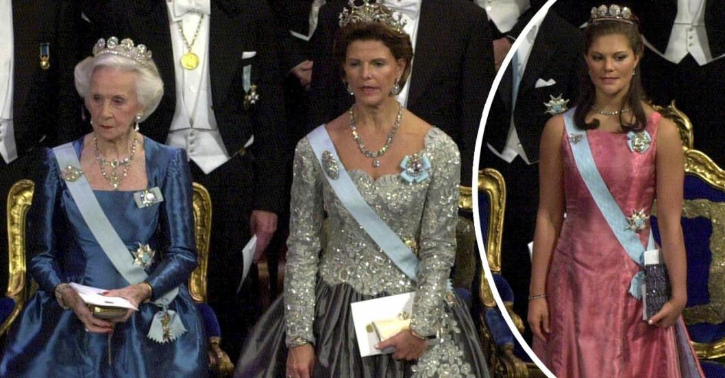 prinsessan Lilian, drottning silvia och kronprinsessan Victoria på nobelfesten 2000