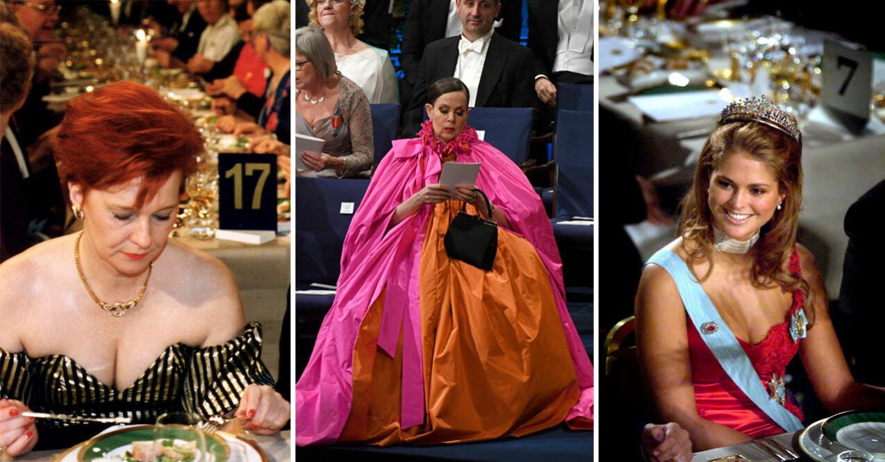Birgit Friggebo på Nobelfesten 1992, Sara Danius på Nobelfesten 2018 och prinsessan Madeleine på Nobelfesten 2002, har alla väckt uppmärksamhet.