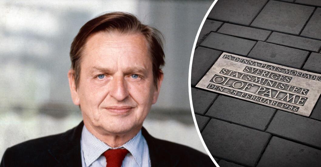 En bild på Olof Palme i kostym och en bild på minnestexten vid hans mordplats