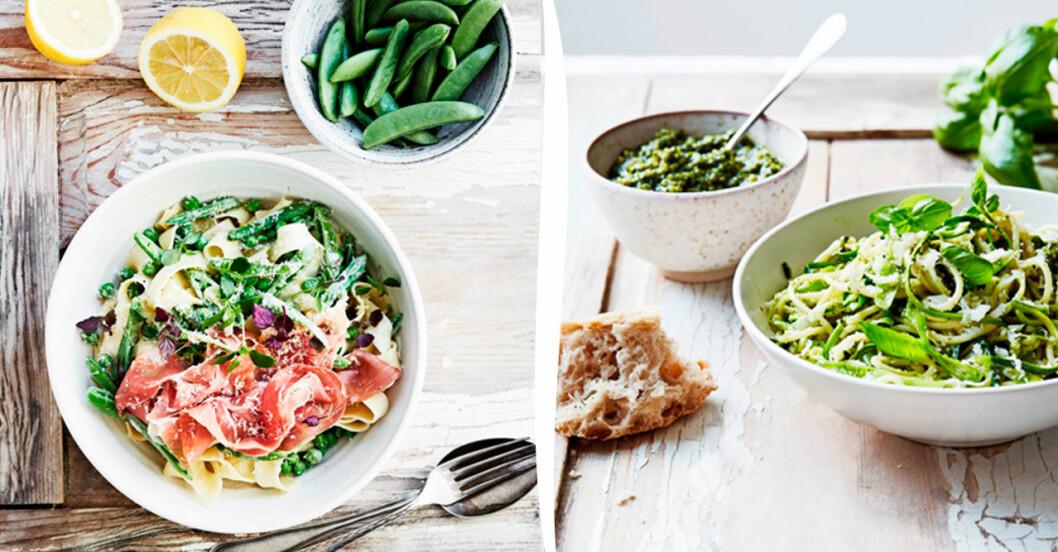 Papardelle med gräddiga ärter och lufttorkad skinka, och Spagetti med squash, salladslök och pesto