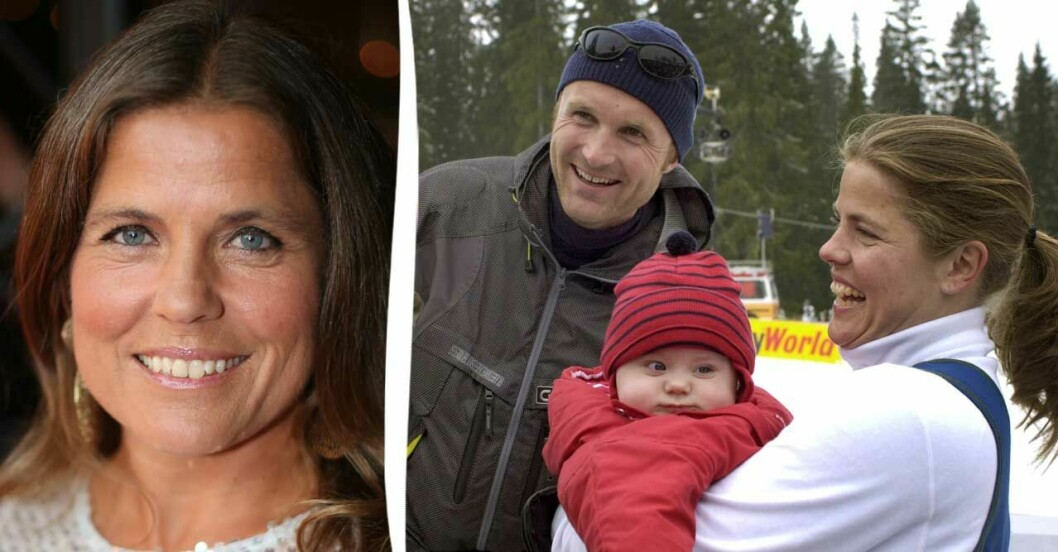 Pernilla Wiberg med barn och man