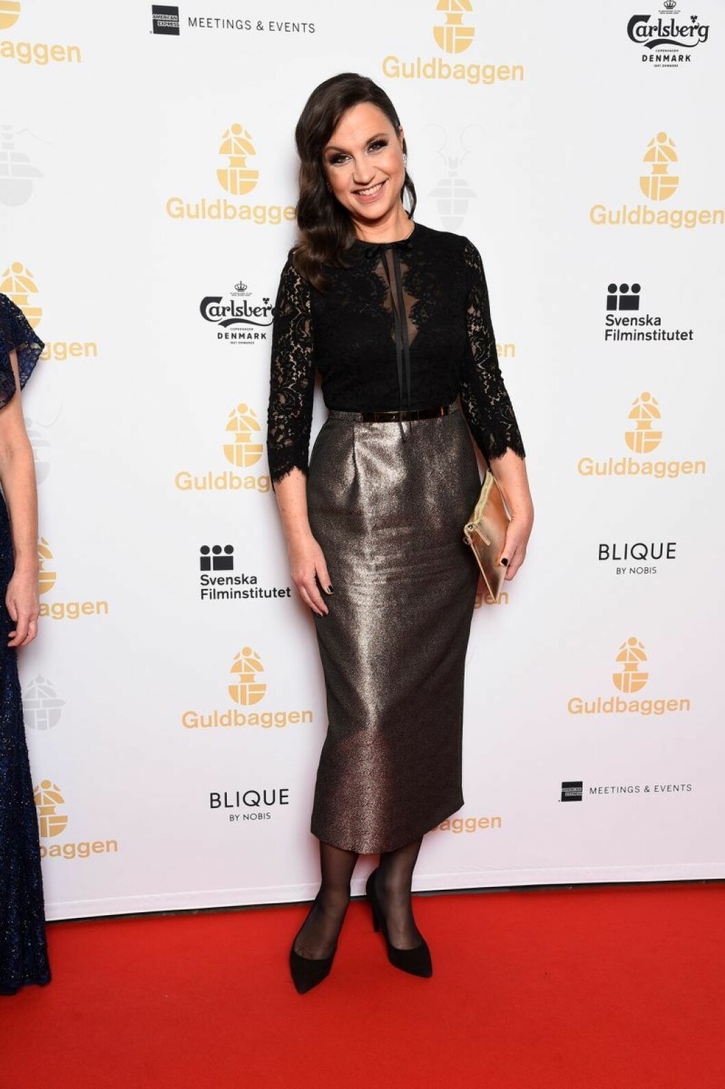 Petra Mede på röda mattan på Guldbaggegalan 2020