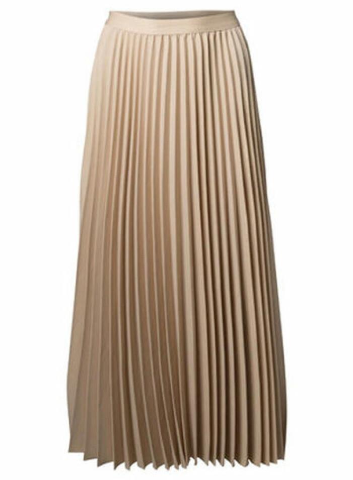plisserad kjol beige