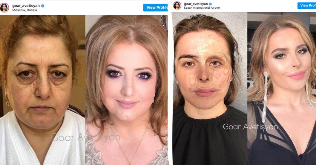 Kvinnor som blivit sminkade.