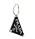Örhänge formad som en trekant med Pradas logga på. Hängande örhänge i svart och silver. Örhänge från Prada.