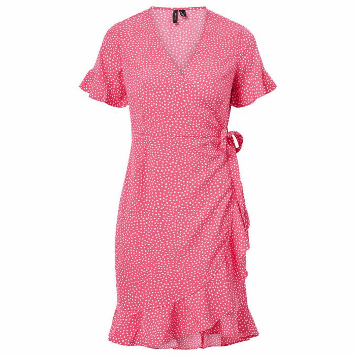 prickig rosa omlottklänning